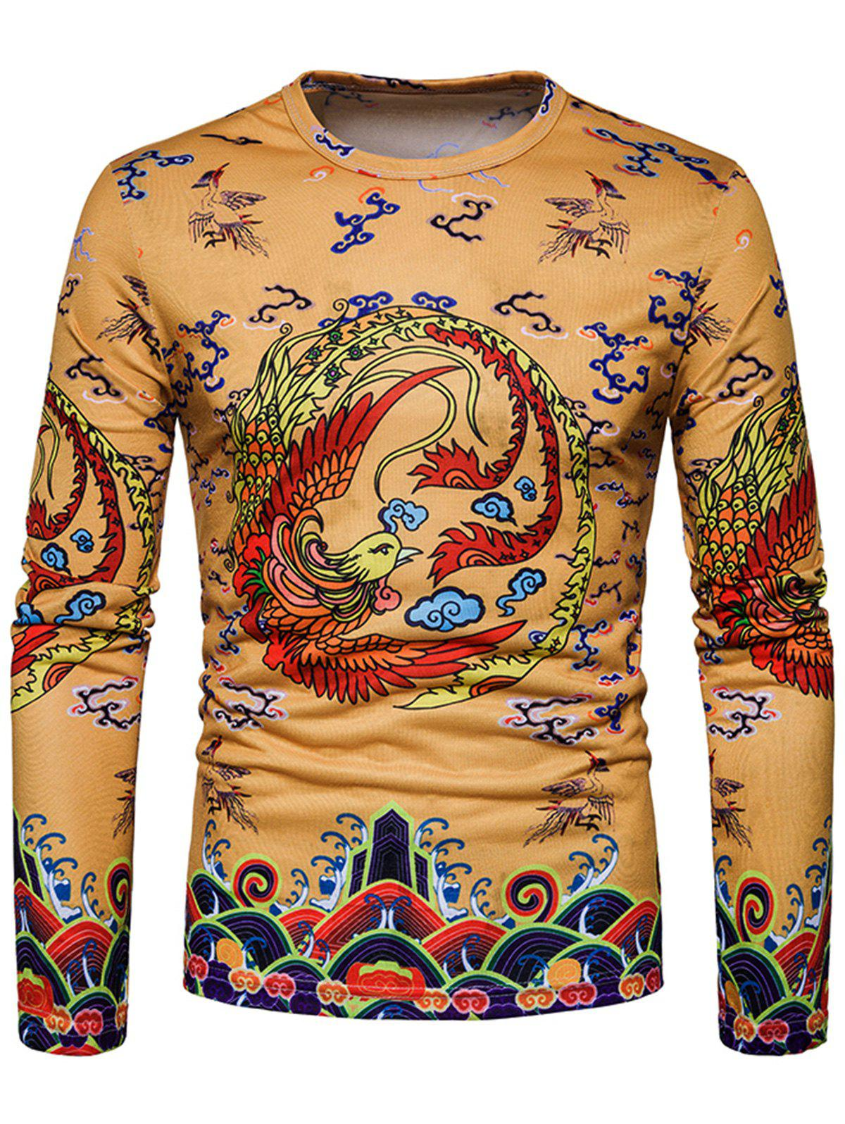 Outfits Phoenix Chinese Style Print Long Sleeve T-shirt