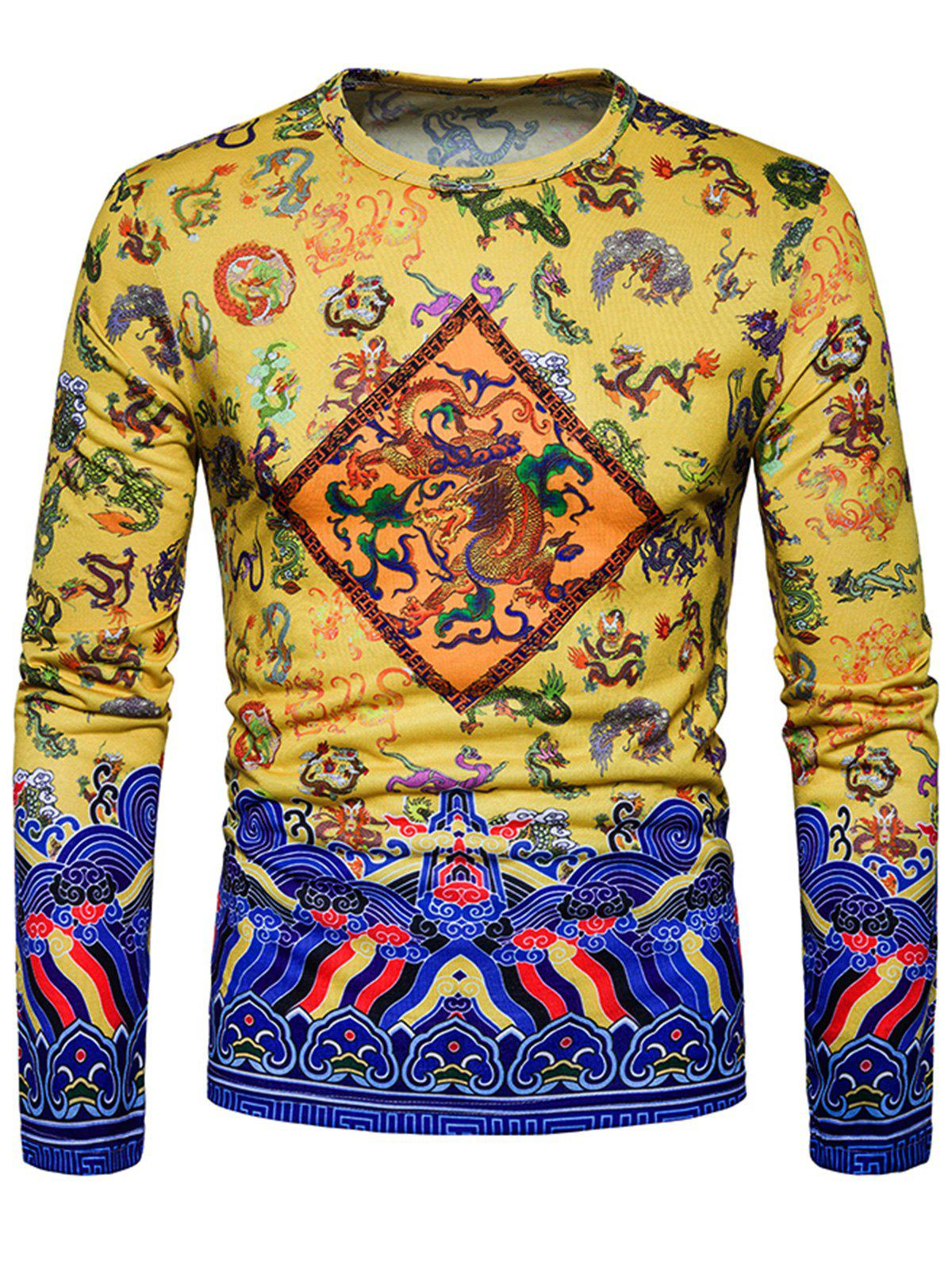 Fashion Dragon Chinoiserie Print Long Sleeve T-shirt