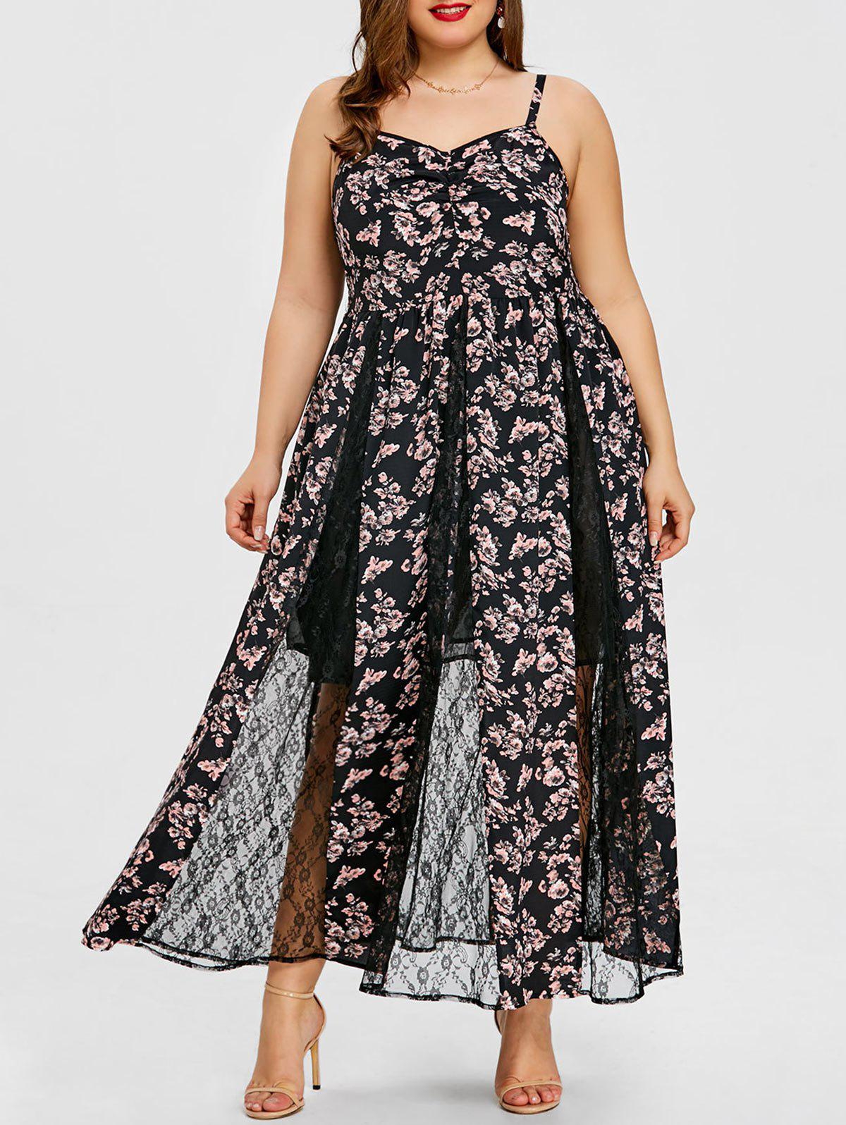 Sale Plus Size Lace Insert Floral Maxi Dress