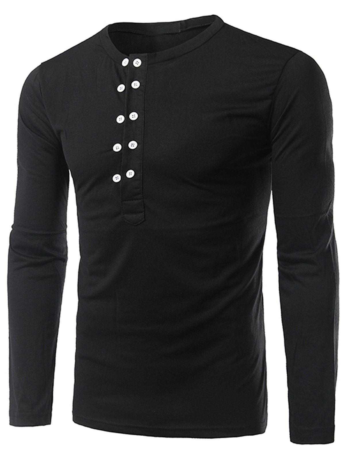 Chic Half Buttons Long Sleeve T-shirt