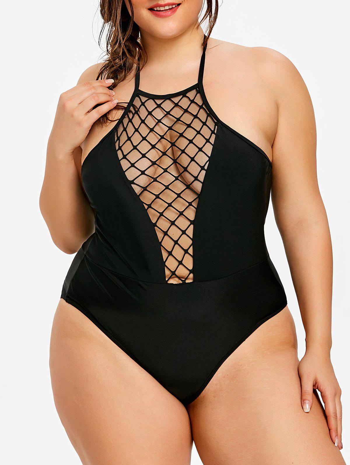Online Plus Size Halter Neck One Piece Swimwear