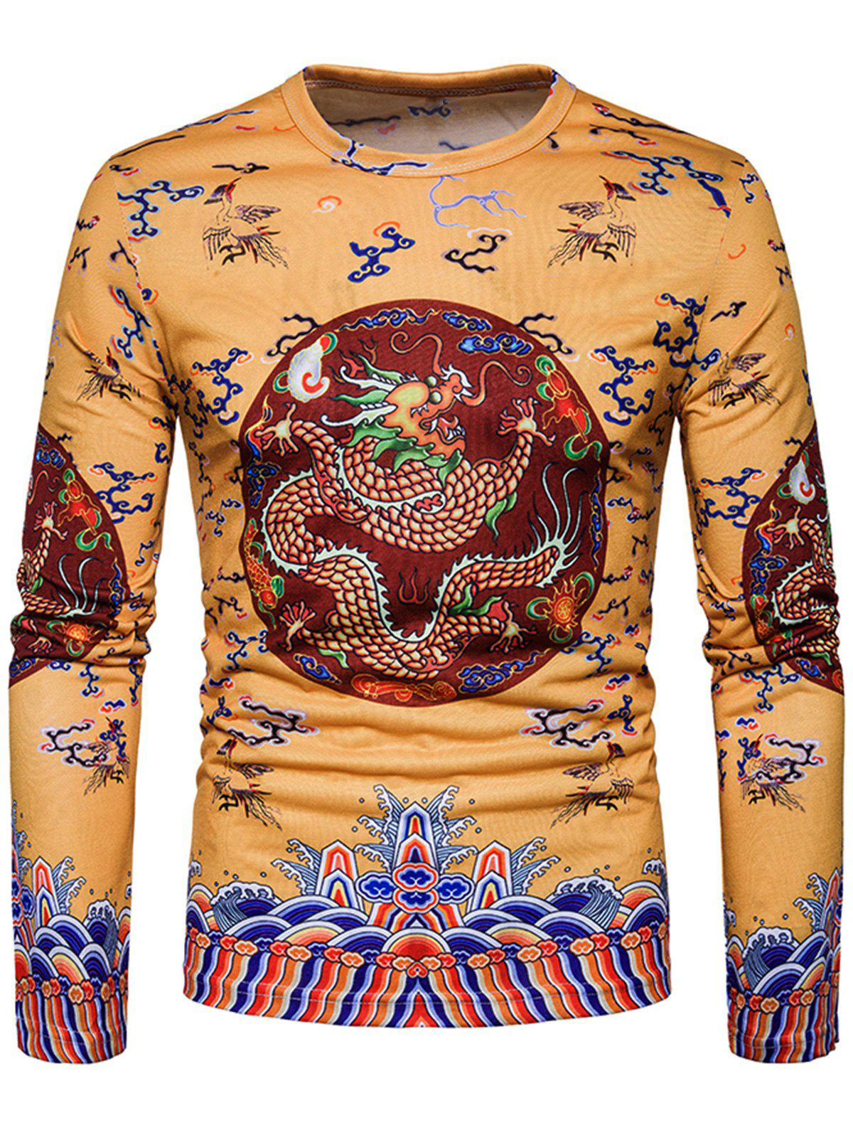 Online Dragon Chinese Style Printed Long Sleeve T-shirt