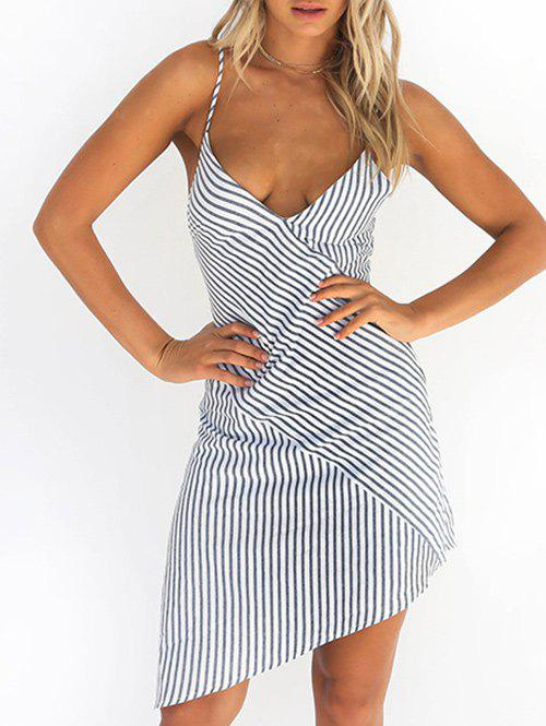 Cheap Striped Asymmetrical Spaghetti Strap Dress