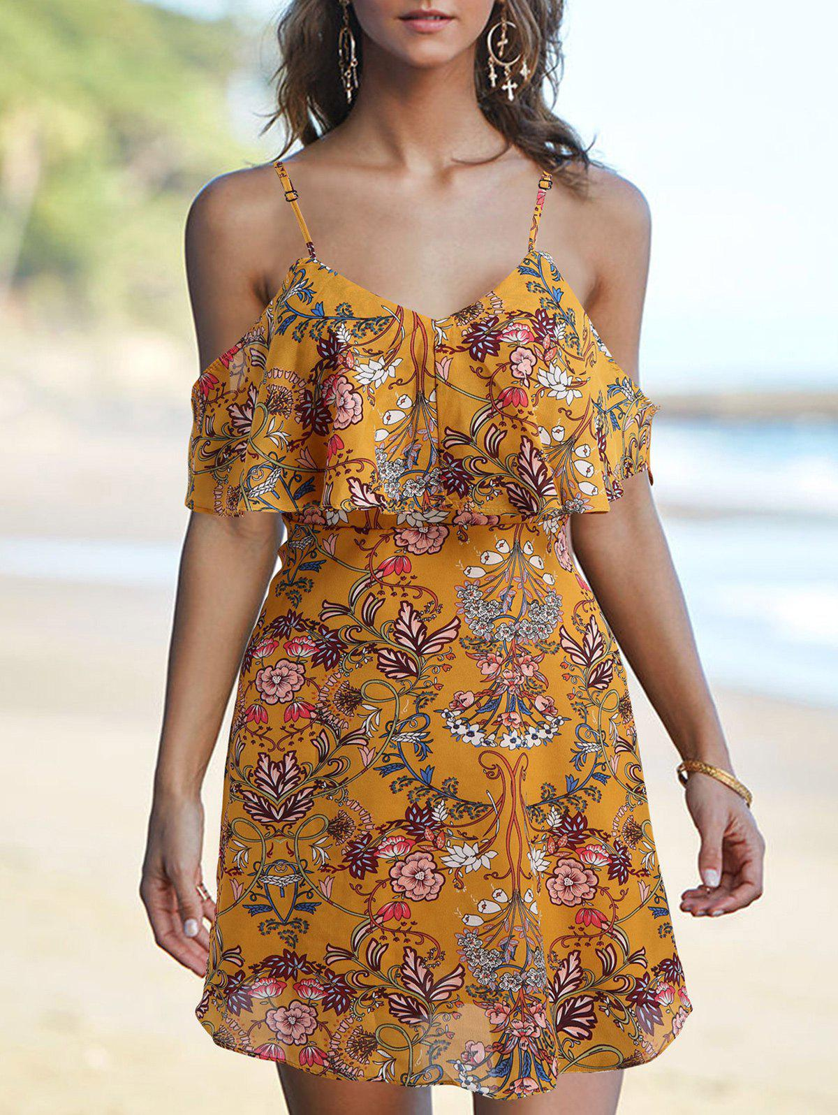 Affordable Spaghetti Strap Floral Printed Dress