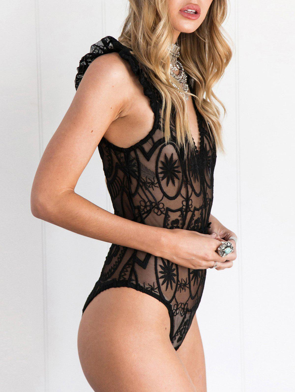 Shop See Through Ruffle Hem Lace Bodysuit