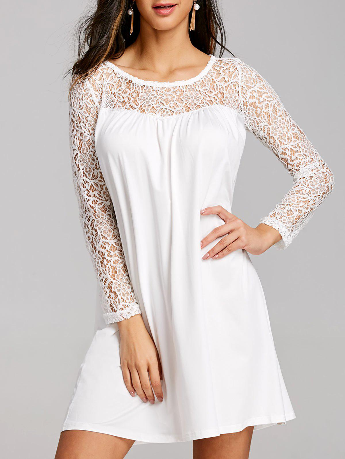 New Lace Panel Long Sleeve Mini Shift Dress
