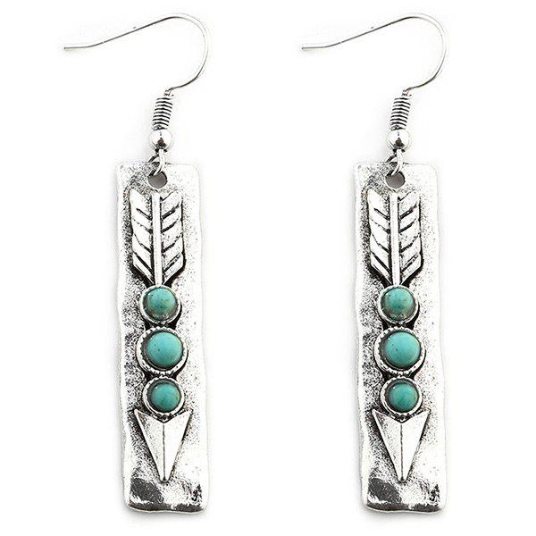 Store Arrow Shape with Stone Inlay Dangle Earrings