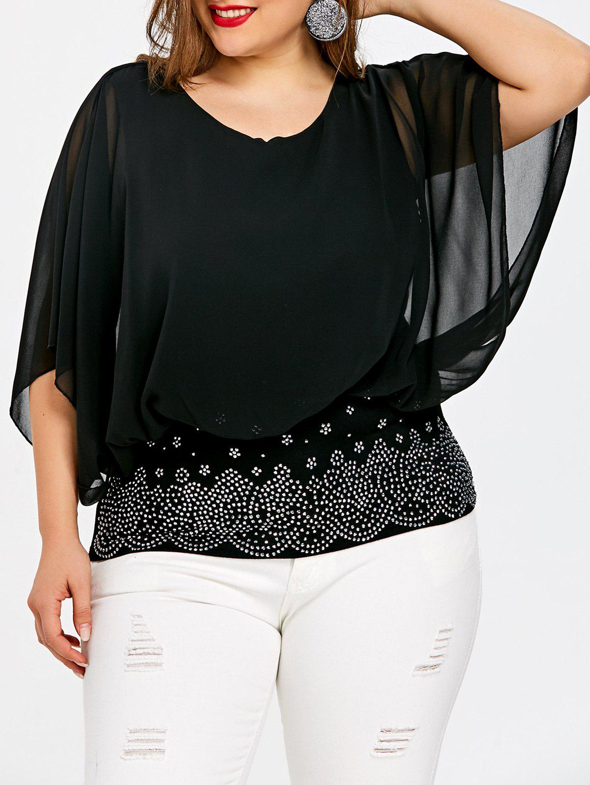 Unique Plus Size Embellished Batwing Sleeve Sheer  Blouse