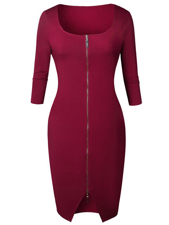 Chic Knee Length Zipper Bodycon Dress