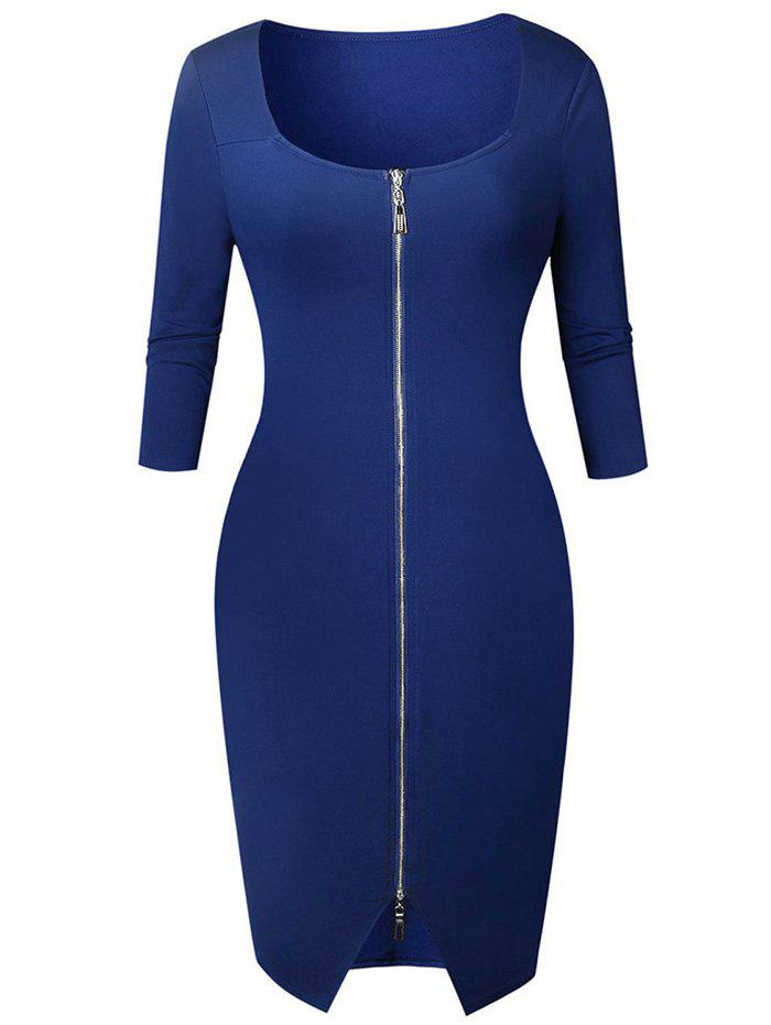Shops Knee Length Zipper Bodycon Dress