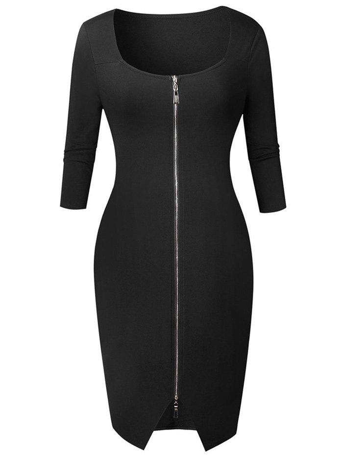 Fashion Knee Length Zipper Bodycon Dress