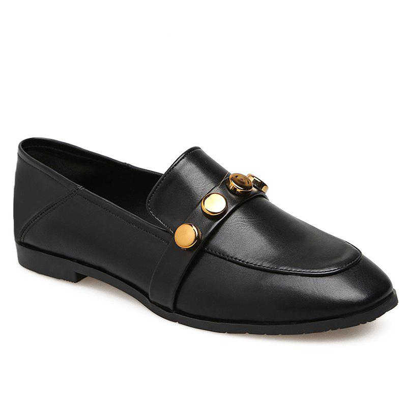 Buy High-polish Studs Round Toe Loafers