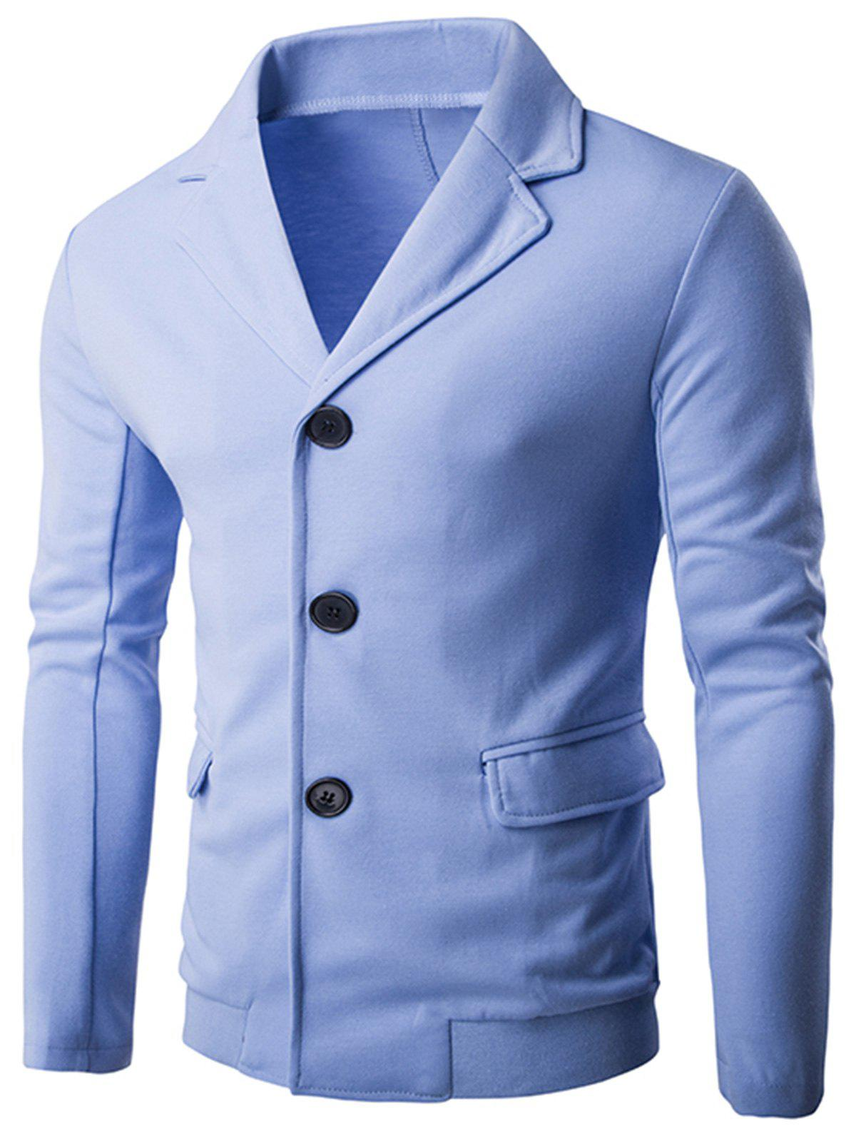 Fancy Single Breasted Rib Panel Casual Blazer
