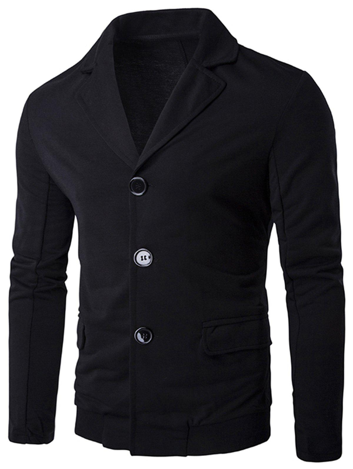 Affordable Single Breasted Rib Panel Casual Blazer