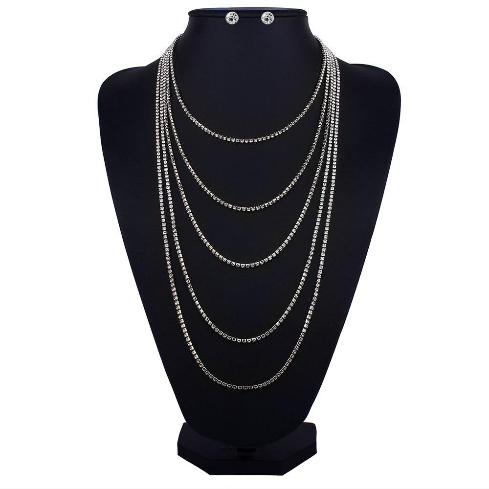 Cheap Layered Rhinestone Fringed Necklace and Earrings