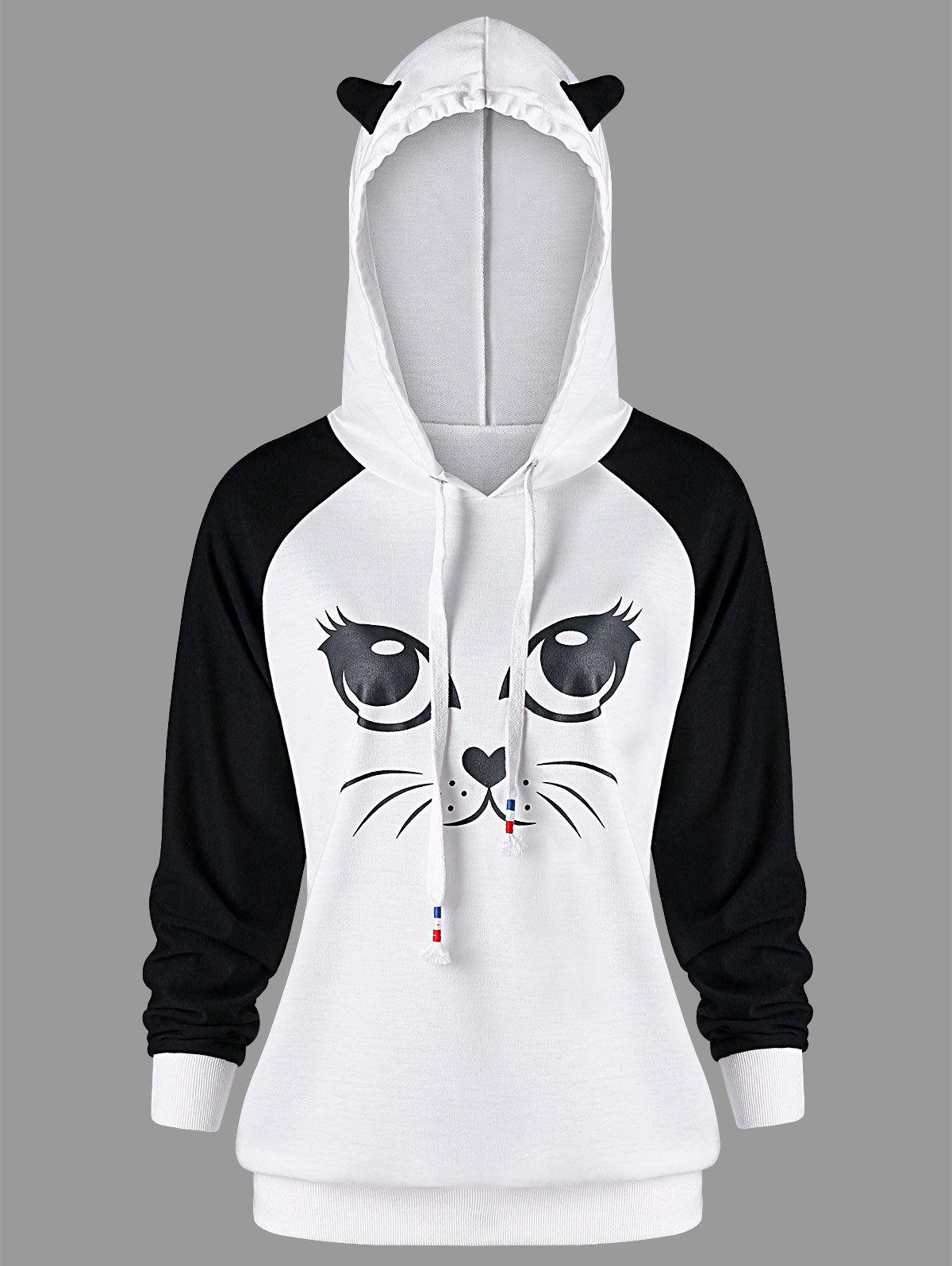 Cheap Cat Pattern Raglan Sleeve Hoodie