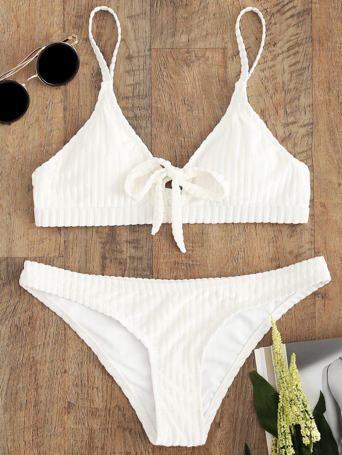 Outfit Cami Strap Velvet Striped Bikini Set