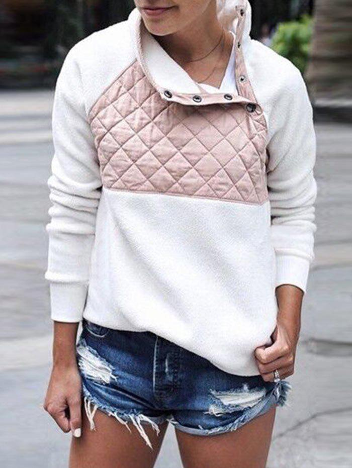Cheap Quilted Panel Fluffy Sweatshirt