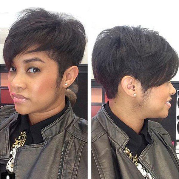 Shops Short Inclined Bang Fluffy Straight Human Hair Wig