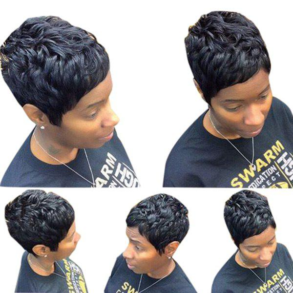 Outfit Short Oblique Bang Layered Curly Human Hair Wig