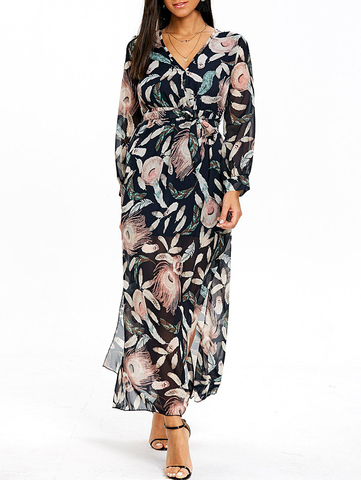 Discount Surplice Slit Feather Print Maxi Dress