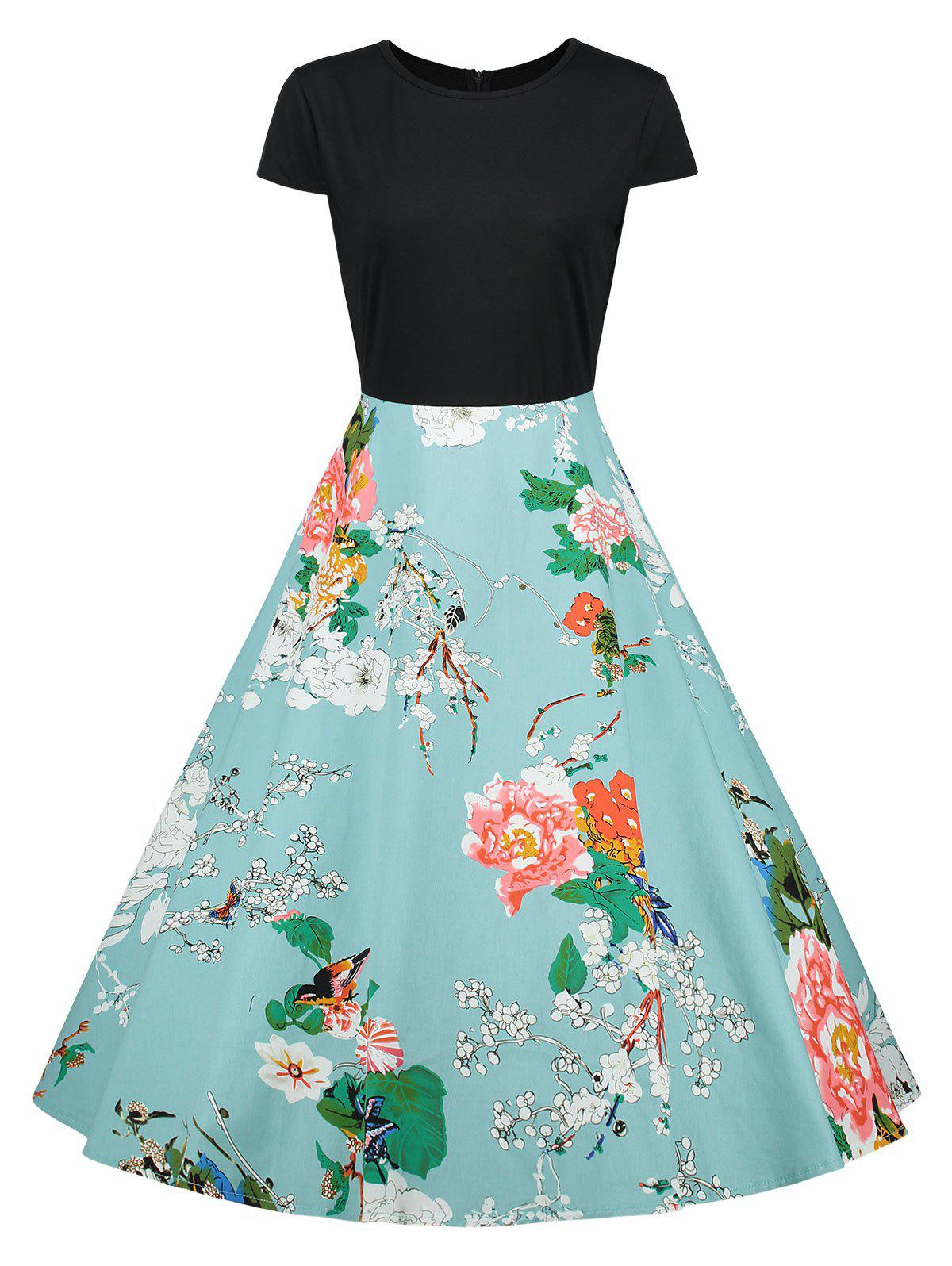 Online Cap Sleeve Floral Vintage A Line Dress