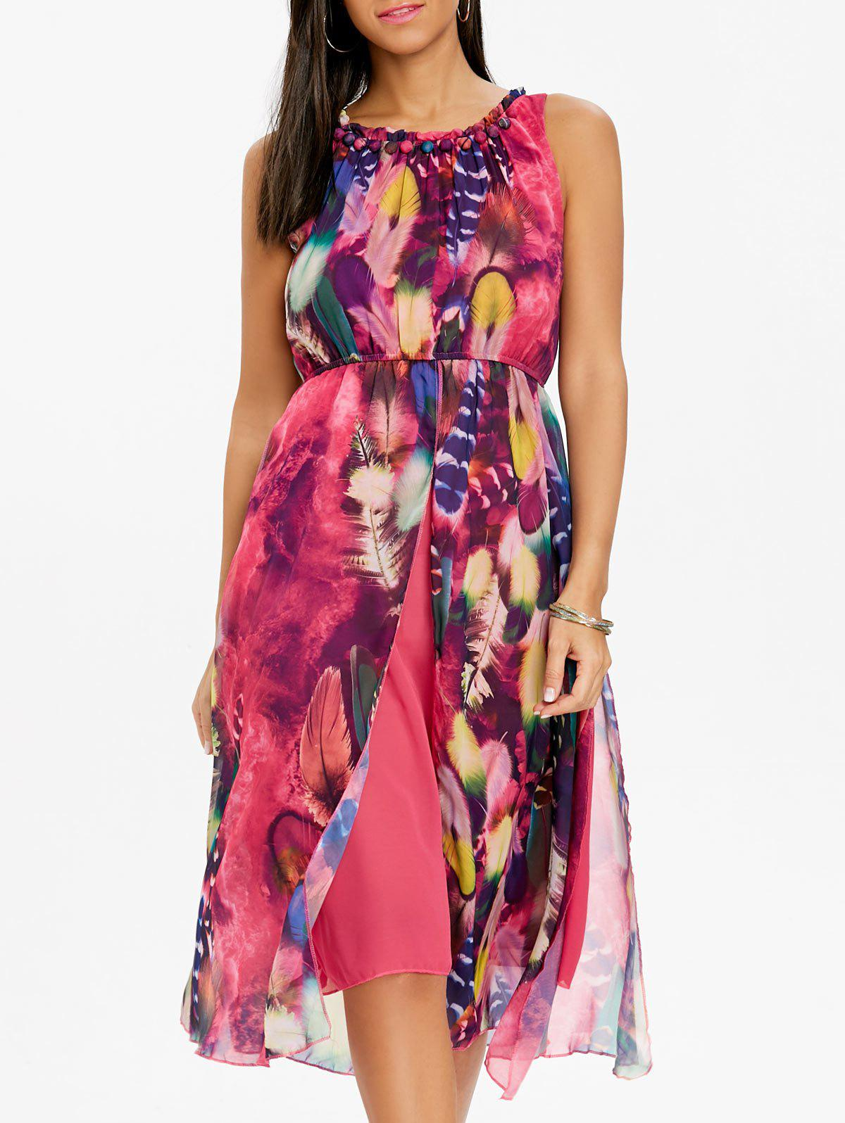 Trendy Bohemian Printed Chiffon Midi Dress