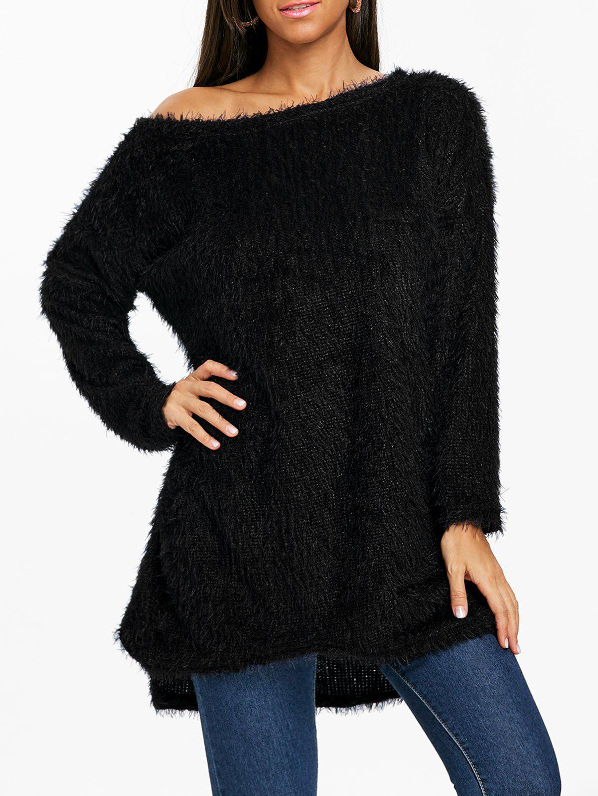 Outfit Skew Neck Fluffy Tunic Sweater