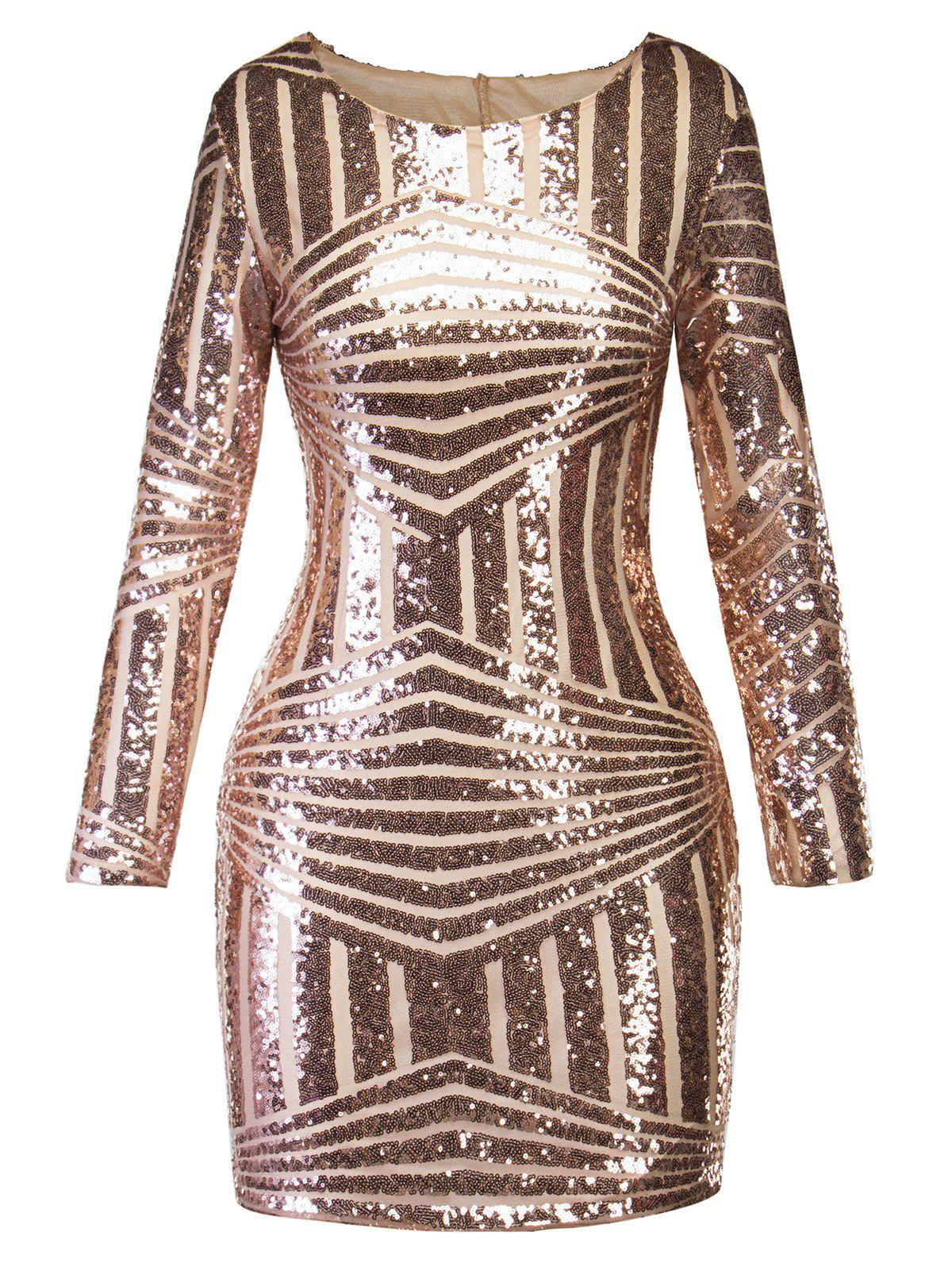 New Sequin Cut Out Sparkly Mini Evening Dress