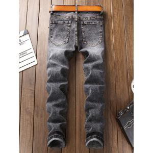 Bleached Patch Appliques Ripped Jeans -
