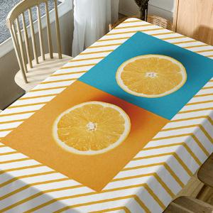 Orange Striped Print Waterproof Table Cloth -