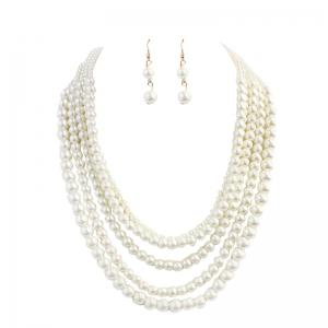 Artificial Pearl Beaded Wedding Jewelry Set -