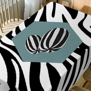 Zebra Print Fabric Waterproof Dining Table Cloth -