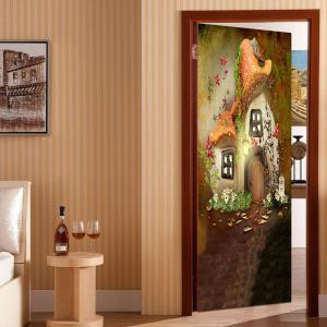 Mushroom House Printed Decorative Door Stickers -