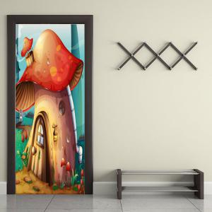 Forest Mushroom House Print Door Stickers -