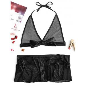 Lingerie Fishnet Rivet Bralette Set -