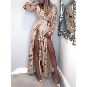 High Slit Plunging Neck Club Dress -