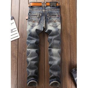 Bleach Wash Straight Leg Ripped Jeans -