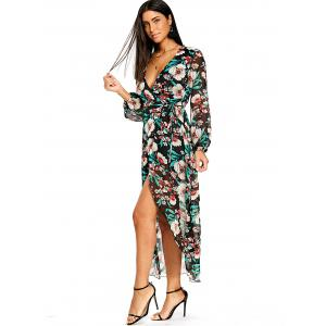 Plunging Flower Print Tulip Wrap Dress -