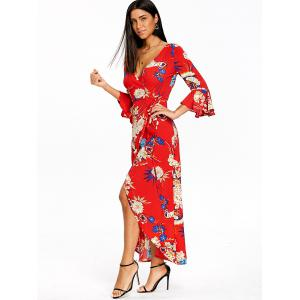 Asymmetrical Bell Sleeve Flower Print Wrap Dress -