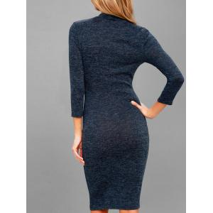 Knee Length Mock Neck Bodycon Dress -