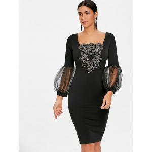 Lantern Sleeve Applique Bodycon Dress -