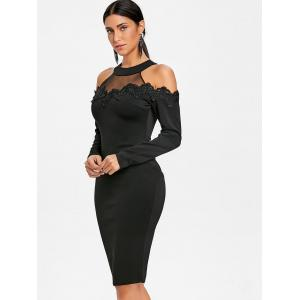 Applique Mesh Panel Cold Shoulder Bodycon Dress -