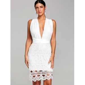 Plunging Crochet Scalloped Club Dress -