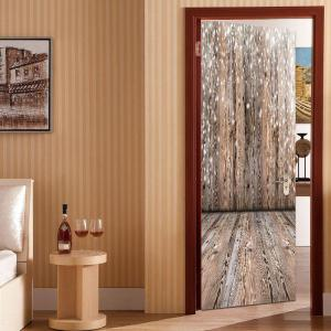 Wooden Board Print Door Stickers -
