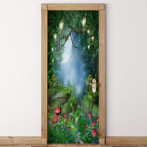 Dreamy Mushroom Pattern Door Art Stickers -