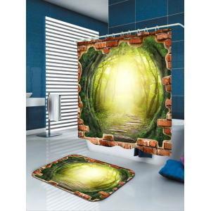 3D Tree Hole Forest Pathway Fabric Shower Curtain -