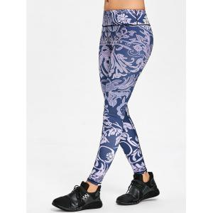 Flower Print Skinny Workout Leggings -