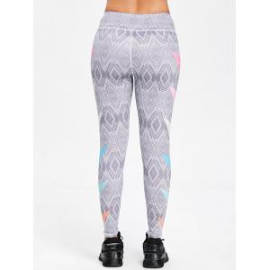 Illusion Rhombus Print Skinny Sports Leggings -