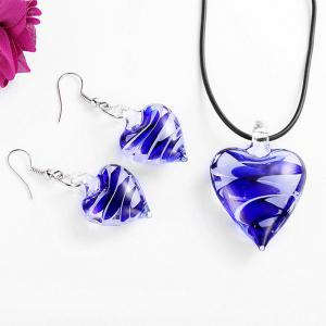 Valentine's Day Heart Shape Glass Jewellery Set -